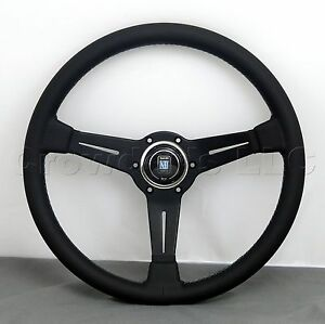 Nardi Steering Wheel 360 Mm Black Smooth Leather Grey Stitch Classic Horn New