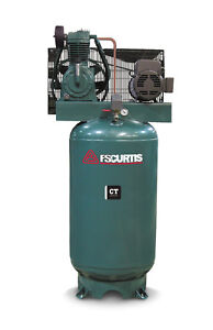 Fs Curtis Ct Series Simplex Vertical Tank Mounted Compressor 7 5 Hp 3 60 200 208