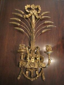 Vintage Hollywood Regency Style Wall Candelabra Made In Italy 27