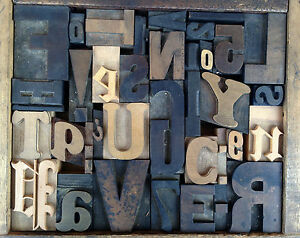 Antique Letterpress Printers Wood Type Mix 37 Pieces