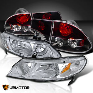 Fit 06 11 Civic 4dr Chrome Crystal Headlights red Tinted Tail Lamps