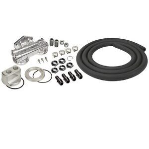 Derale 15749 Dual Mount Oil Filter Relocation Kit 1 2 Npt Ports 3 4 16 Thread