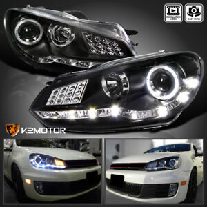 For 2009 2012 Vw Golf Gti Mk6 Black Led Halo Projector Headlights Pair