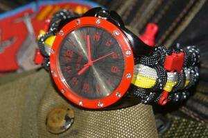 Custom Extreme Reflective Turnout Gear Paracord Watch Adjustable Red Shackle