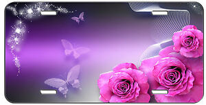 Custom License Plate Pink Roses And Butterflies Auto Tag