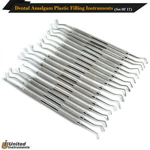 New Set Of 17 Dental Amalgam Restorative Composite Plastic Filling Instruments