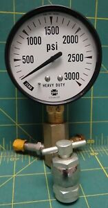 Us Gauge Co 2 1 2 3000 Psi Lower 1 4 Npt Connection With 3 Way Adapter