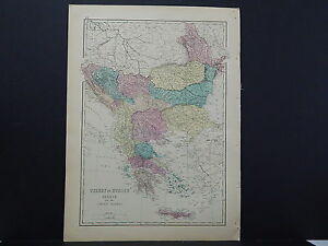 Antique Map 1875 Europe Turkey Greece Ionian Islands
