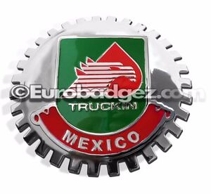 1 New Chrome Front Grill Badge Mexican Flag Spanish Mexico Medallion Truckin