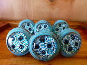 6 Blue Victorian Glass Drawer Cabinet Pulls Knobs Vintage Metal Chic Hardware