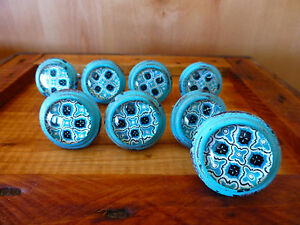 8 Blue Victorian Glass Drawer Cabinet Pulls Knobs Vintage Chic Metal Hardware