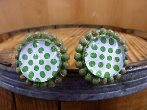 2 Green Sun Flower Glass Drawer Cabinet Pulls Knobs Vintage Chic Garden Hardware