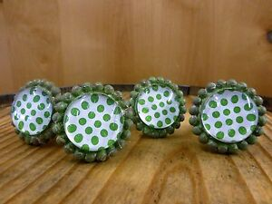 4 Green Sun Flower Glass Drawer Cabinet Pulls Knobs Vintage Chic Garden Hardware