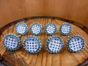 8 Blue Sun Flower Glass Drawer Cabinet Pulls Knobs Vintage Chic Garden Hardware