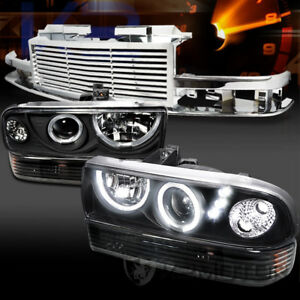 98 04 Chevy S10 Blazer Black Led Projector Headlights Bumper Lamps Chrome Grille