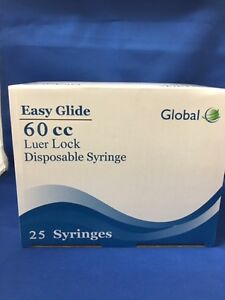 50 Easy Glide 60cc 60ml Luer Lock Disposable Syringes No Needle sterile