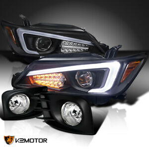 For 2011 2013 Scion Tc Black Projector Headlights W Led Strip clear Fog Lamps