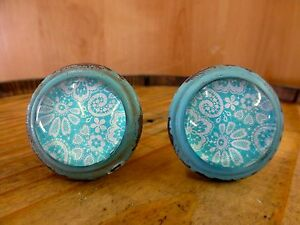 2 Blue White Lace Glass Drawer Cabinet Pulls Knobs Vintage Distressed