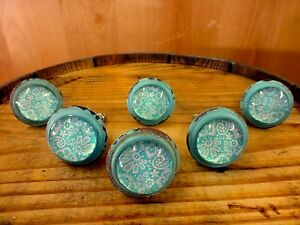 6 Blue White Lace Glass Drawer Cabinet Pulls Knobs Vintage Distressed Hardware