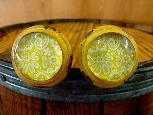 2 Yellow White Lace Glass Drawer Cabinet Pulls Knobs Vintage Distressed Hardware