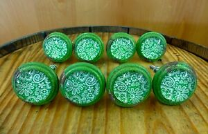8 Green White Lace Glass Drawer Cabinet Pulls Knobs Vintage Distressed Hardware