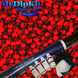 Best Hydrographics My Dip Kit Activator Black clear Skulls W Red Paint Ll 61 red