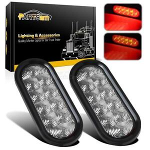 2xred Oval 10led Stop Brake Turn Tail Lamp 6 W Grommet Truck Trailer Clear Lens