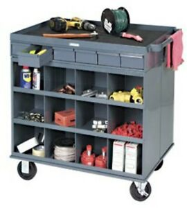 Durham 662 95 2 sided Mobile Cart Office Janitorial Industrial Workstation New