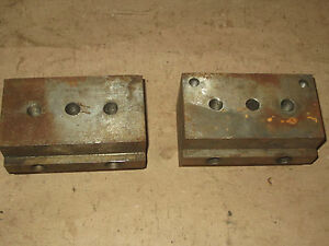 2 Bridgeport Mill Stop Block Fixtures 3 X 3 X 5 5 8 T slot Table Angle Plate