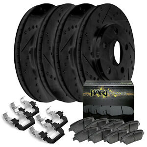 Full Kit Black Hart Drilled Slotted Brake Rotors And Ceramic Pad Bhcc 66044 02