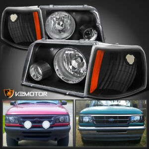 93 97 Ford Ranger Black Projector Headlights W Fog Corner Signal Lamps 4pc