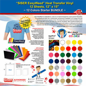 Siser Easyweed Heat Transfer Vinyl 12 Sheets 12 x15 12 Colors Starter Bundle