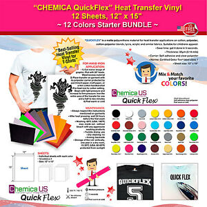 Chemica Quickflex Heat Transfer Vinyl 12 Sheets 12 x15 12 Colors Starter Bundle