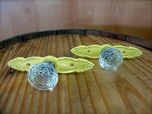 2 Yellow Antique Style French Pull Clear Knob Drawer Cabinet Handle Vintage Chic