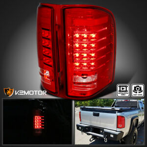 2007 2014 Chevy Silverado 1500 2500 3500 Truck Pickup Red Clear Led Tail Lights