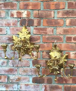 Antique C1900 Gold Gilded Carved Wood Metal Italian Leaf Form Wall Sconces