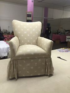 Small Occasional Chair For Sale With Skirt And Gathered Corners