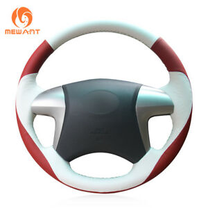 Top Red White Genuine Leather Steering Wheel Cover For Toyota Highlander Camry