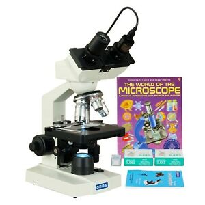 Omax 2500x Lab Binocular Led Microscope 3mp Camera blank Slides book lens Paper