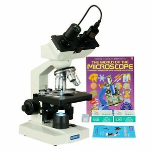 Omax 2500x Lab Binocular Led Microscope 5mp Camera blank Slides book lens Paper