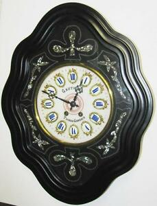 Antique Ca 1880 French Wall Clock Porcelain Face W Enameled Numerals Gauthier