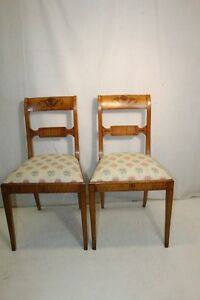 Charming Pair Of Neo Classical Style Satinwood Hand Painted American Made Chairs