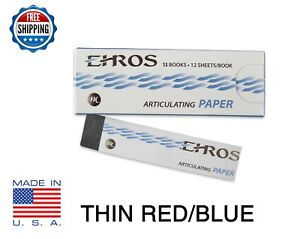 Dental Articulating Paper Thin 0 003 Red blue 144 Sheets Made In Usa