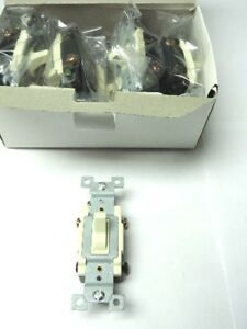 Lot Of 10 Almond Heavy Duty Grounding 4 way Toggle Wall Light Switch 15a 120 277