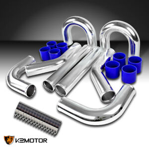 3 Aluminum Turbo Intercooler Piping Kit blue Silicon Hose bolt Clamps