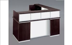 New Pimlico Mocha Modern L shape Reception receptionist Office Desk glass Panel
