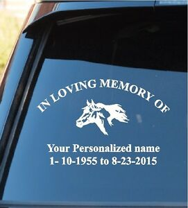 In Loving Memory Horse Window Decal Sticker In Loving Memory Horse