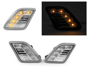 Amber Led Clear Bumper Side Marker Lights For 2010 2013 Mercedes W221 S Class