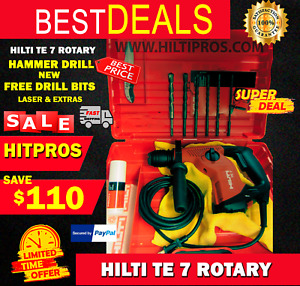 Hilti Te 7 Rotary Hammer Drill New Free Drill Bits Laser Extras Fast Ship