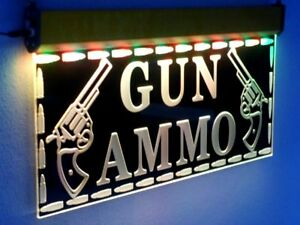 Large Sale Gun Led Signs Ammo Neon Open Light Hunting Shop Firearms Cowboy H016